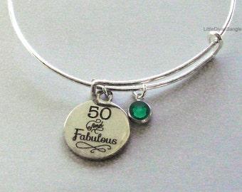 50 and Fabulous CHARM Bangle W/ Swarovski  Birthstone Crystal Drop Bangle /Happy Birthday Bangle - Gift For Her Under Twenty  HB1