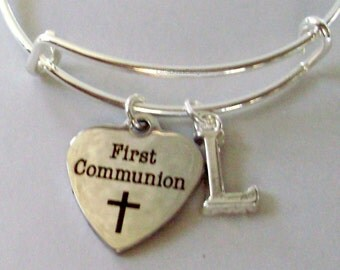 GIRLS First Communion  BANGLE -  Adjustable Bangle  Initial - Religious Bangle  Girls Gift  Usa  FC1