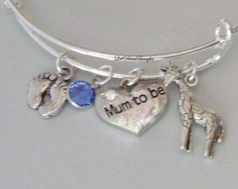 BABY Feet / MUM To Be / Giraffe /Charm W/ Birthstone Crystal /New Mother Adjustable Silver Bangle / Baby Shower Gift Under 20  USA NM1