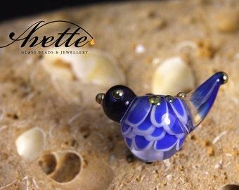 Bernadette.  Lampwork glass bird bead. Blue bird.  Avetteglass  Avette. Pendant bead artisan handmade glass bead
