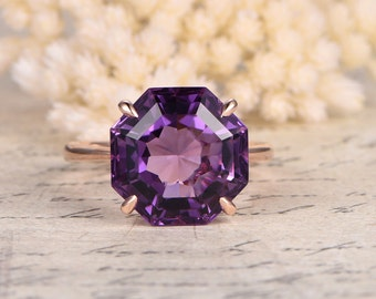 Octagonal Cut Amethyst Ring February Birthstone Ring Solid 14K Rose Gold Ring Amethyst Gold Ring Purple gemstone Engagement Ring