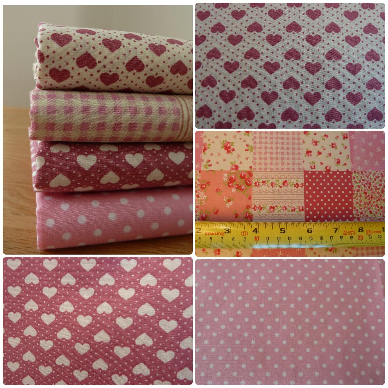 Pink Fabric Fat Quarter Bundle - 4 Piece - 100% Cotton