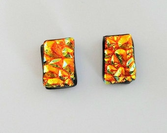 Dichroic Glass Post Earrings Textured Gold