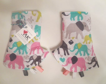 Reversible Elephants Teething Pads / Drool Pads for Ergo, Tula, Beco, Boba, Mei Tai, Lillebaby, Manduca