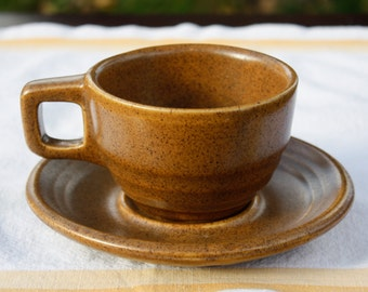 Vintage Monmouth Mojave Cups & Saucers  - Western Stoneware Mojave coffee cups - Old Vintage Earthenware Cups and Saucers - Set of 4 (8 pcs)