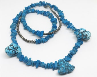 Raw Turquoise Nugget Necklace, 26 Inch Necklace, Southwestern Jewelry
