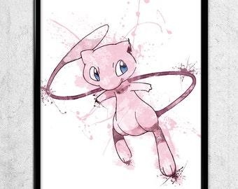 Pokemon: Mew Watercolor print/poster, wall art