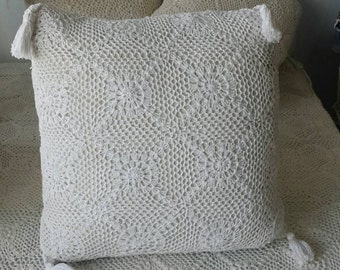 Hand crochet Pillow with tassel trim 40x40cm, crochet cushion
