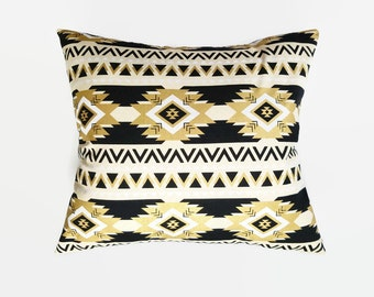 CLEARANCE Black & Gold Aztec Pillow Covers 16x16