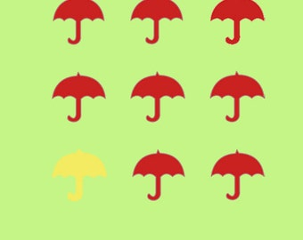 "6""x6"" Square  Greeting Card – Yellow and Red Umbrellas - 152mm x 152mm (blank inside)- with envelope, photo greetings card, fine art card"
