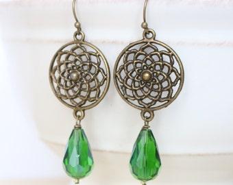 Emerald Green Flower Earrings - Bronze, Dangle, Drop, Emerald Green, Fall Fashion, Boho Style, Bohemian, Women's Fashion