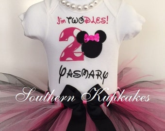 Girls Minnie Inspired Twodles Two-dles Toodles Birthday Party Custom Tutu Outfit Set Boutique Pageant All Sizes 2nd Second Bday Dress