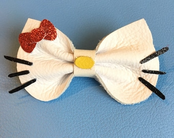 Hello Kitty Bow Genuine Leather Clip Or headband