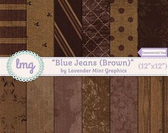 Brown Blue Jean Denim Digital Scrapbooking Paper - Denim Digital Paper Backgrounds, Denim Textures - Instant Download, Commercial Use