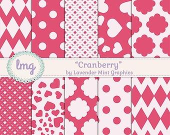 Red Digital Scrapbook Paper - Cranberry - Chevron Background, Polka Dots, Floral Pattern, Red Digital Paper, Instant Download, CU
