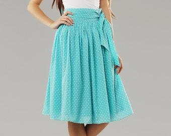 Summer chiffon skirt \ blue skirt summer \ skirt polka dots \ midi skirt \ skirt for a party \ Chiffon skirt blue polka dots