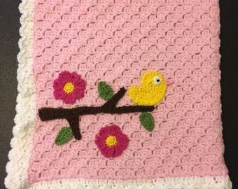 Crochet Baby Bird Blanket, Crochet baby blanket, Stroller blanket, Car seat blanket, Baby Afghan, baby shower gift, Newborn blanket