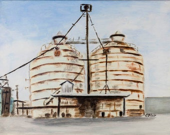 "Rustic Silos, Farmhouse Decor, Country Chic, Industrial Decor,  Print from Original Painting, 13  1/2"" x 10"""