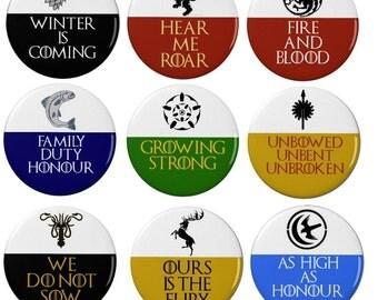 Game of Thrones -  Badges -  Magnets - Keyrings - Houses - Sigils - Targaryen - Stark - Lannister  - Books - Fantasy