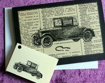 Handmade card. Steampunk greeting card. Hand made in Australia. Birthday any occassion card. Blank card. Vintage car card with gift tag