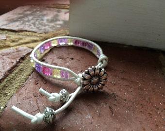 Girl's pink wrap bracelet