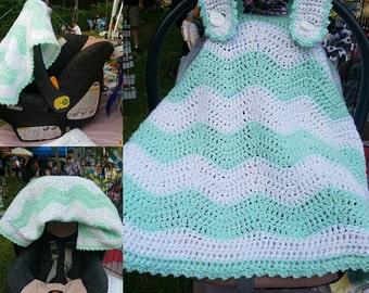 Handmade Crochet Custom Car Seat Cover and baby Blanket. Cozy Baby Blanket, Sun shade