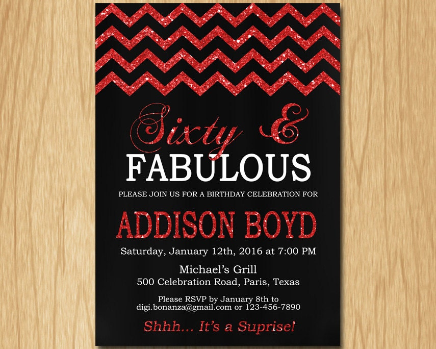 30th 40th 50th 60th 70th Birthday Invitation Women Black Red - photo#26