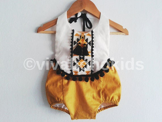 Baby Girl Romper Linen Boho Chic Sunsuit Baby Clothes