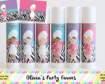 6 Spa Party Favor Balm - Girl's Spa Day - Spa Theme Lip Balm - Free Personalization - Spa Birthday Party Favors - Zebra Spa Theme