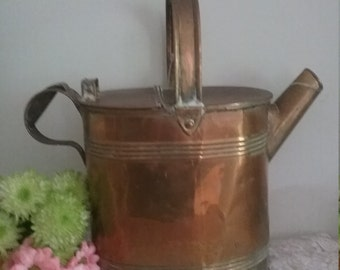Vintage Large Brass Watering Can. Decorative Planter ? Veg Home Decor