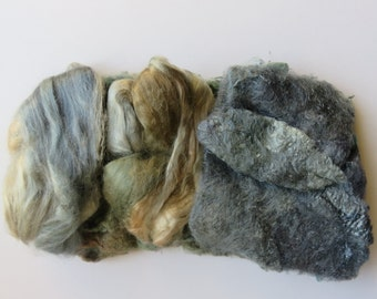 Silk experimental pack - 22g subtle space dyed silk for Spinning, Embroidery, Paper making, Silk Fusion, Mixed Media