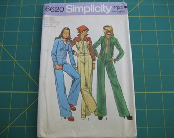 Vintage UNCUT 1974 Junior Petite Jean Style Jacket and Flared Pants Simplicity 6620 sz 11P 13P