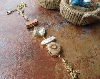 25% VALENTINE SALE Multi Stone Necklace/Gold Tassel Necklace/Gemstone Necklace/Bubble Necklace/Bib Necklace/Statement Necklace - GN70