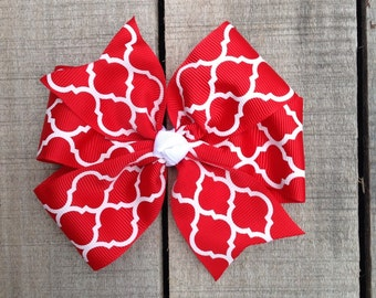 Red and white bow, red hair bow, hairbow, boutique bow, chevron hair bow, red hair bow, hair clip, quatrefoil bow