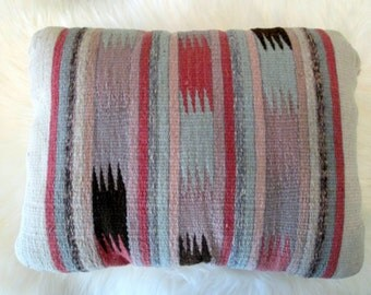 Vintage Southwestern Woven Wool Pillow / Pastel Colors / Geometric Shapes / Handwoven Wool Cover