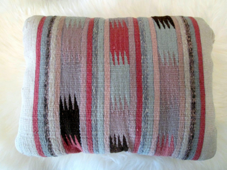 Vintage Southwestern Pillow : Vintage Southwestern Woven Wool Pillow / Pastel Colors