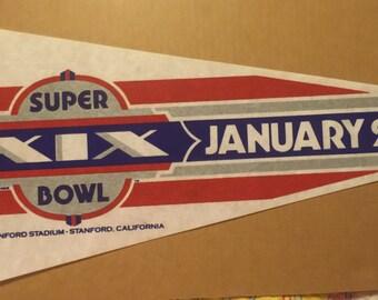 Super Bowl 19 January 20, 1985 49ers vs Dolphins Felt Pennant