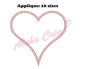 Machine Embroidery Design heart applique (16 sizes) - Instant Digital Download