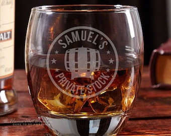 Midtown Premium Round Whiskey Glass - Private Stock Design - Personalized Engraving - Great Gift for Bourbon, Scotch, and Whiskey Lovers
