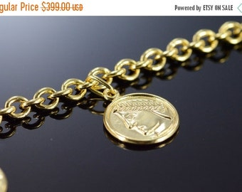 "1 Day Sale 18K Venice Italy Charm Bracelet 7"" Yellow Gold"