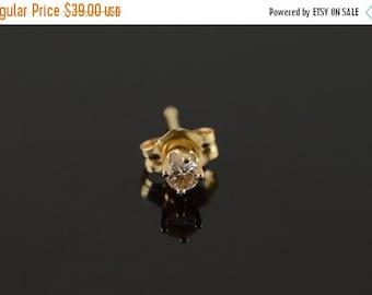 1 Day Sale 14K 0.07 CT Diamond Stud Single Earring Yellow Gold