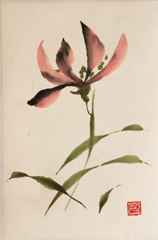 Japanese ink painting suibokuga sumi e watercolor by lidaink for Japanese watercolor paintings
