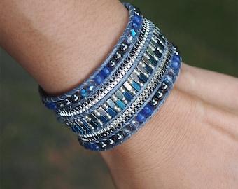 Dark blue mix Cuff Bracelet with Chain, Statement bracelet