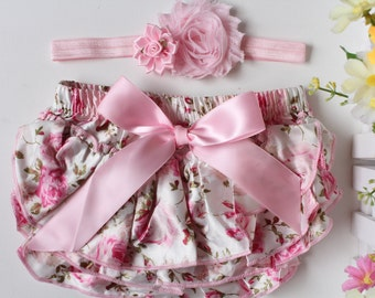Baby Bloomers Headband Set Newborn to 1 Year Baby Photo Prop Floral Bloomers Pink