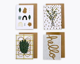 Recycled Blank Greeting Card 4-Pack by Melanie Lambrick Illustration
