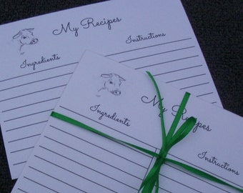 Cow Recipe Card - Recipe Cards - Cookbook Recipe Cards