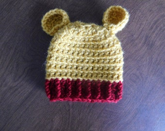 Winnie the Pooh Baby Beanie with Ribbed Bottom