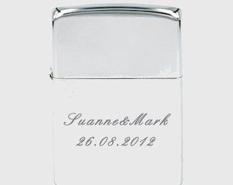Personalised High Polished Chrome finish Fliptop Lighter in presentation box