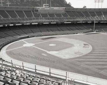 Candlestick Park Black & White Vintage and Empty Stadium Photograph