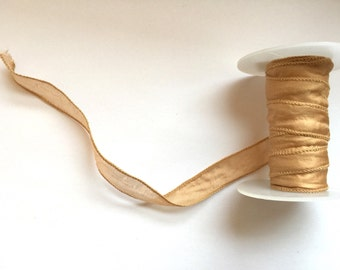 "Hand Dyed 100% Silk Ribbon 0.5"" ~ Noble Gold ~ 50cm"